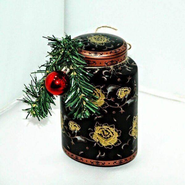 """""""Краски Нового года"""" фарфоровая чайницы для хранения чая и черный китайский байховый чай"""