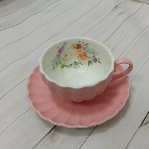 """Чашка с блюдцем 0,2л """"Королевский сад"""" (розовая) в подарочной упаковке"""
